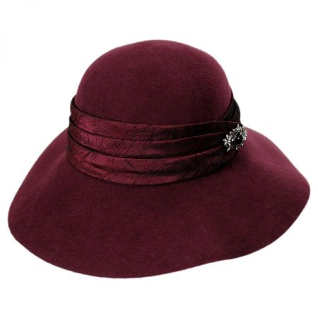 Satin Brooch Wool Felt Floppy Hat alternate view 2