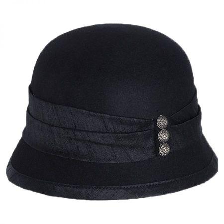 Silk Trim Packable Wool Felt Cloche Hat alternate view 1
