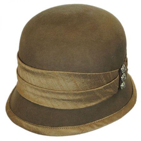 Silk Trim Packable Wool Felt Cloche Hat