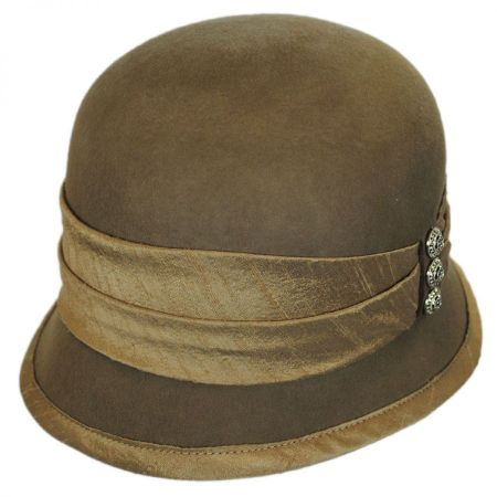 Toucan Collection Silk Trim Packable Wool Felt Cloche Hat