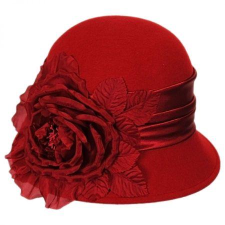 Toucan Side Rose Wool Cloche Hat