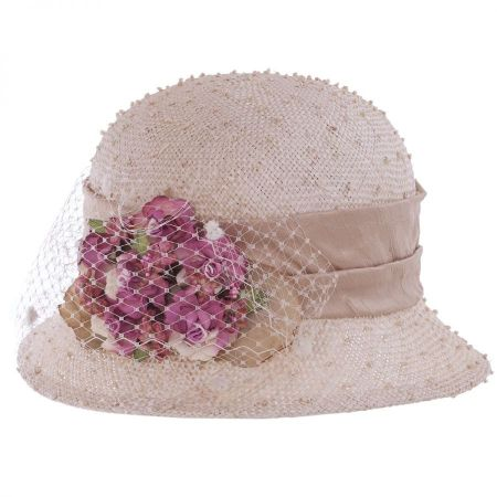 Toucan Collection Veiled Rosette Sisal Straw Cloche Hat