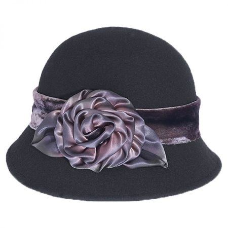 Toucan Collection Silk Swirl Rose Wool Cloche Hat