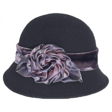 Toucan Collection Silk Swirl Rose Wool Felt Cloche Hat