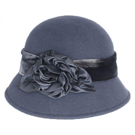 Silk Swirl Rose Wool Felt Cloche Hat alternate view 2