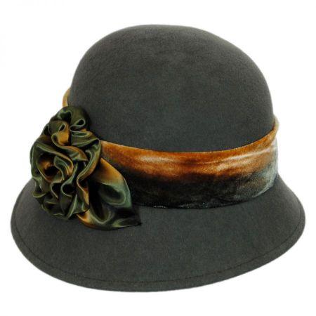 Toucan Silk Swirl Rose Wool Cloche Hat