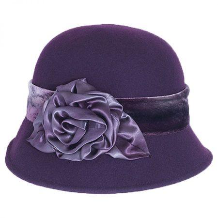 Silk Swirl Rose Wool Felt Cloche Hat alternate view 7