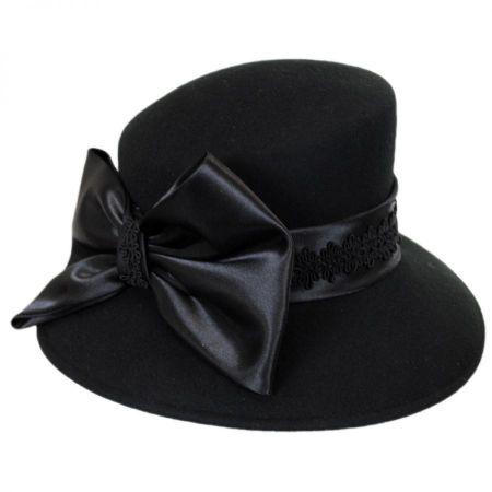 Satin Bow Slant Wool Felt Downbrim Hat
