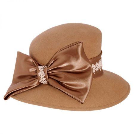 Satin Bow Slant Wool Felt Downbrim Hat alternate view 5