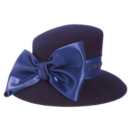 Satin Bow Slant Wool Felt Downbrim Hat alternate view 6
