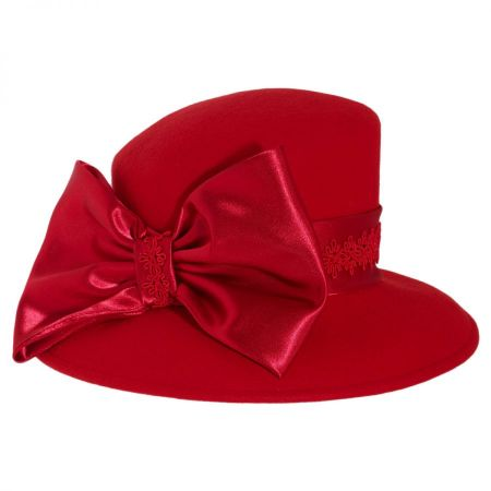 Toucan Collection Satin Bow Slant Wool Downbrim Hat