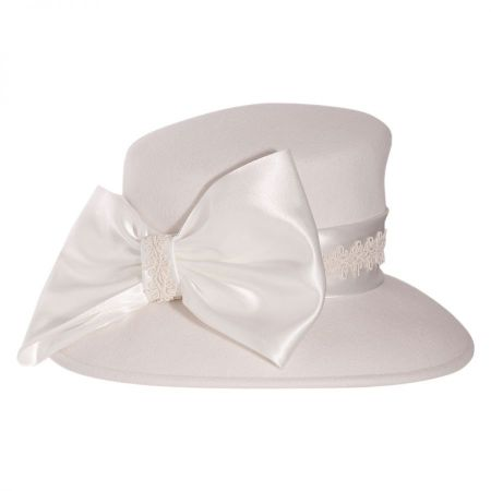 Satin Bow Slant Wool Felt Downbrim Hat alternate view 8