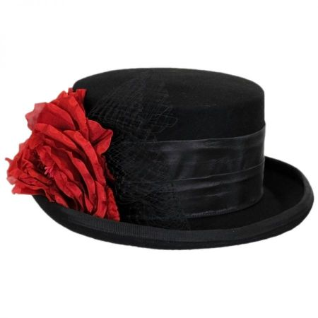 Rose Veil Coachman Wool Felt Top Hat alternate view 1