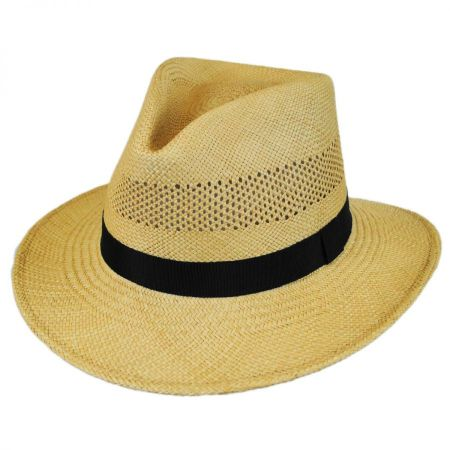 Vented Panama Straw Fedora Hat alternate view 1