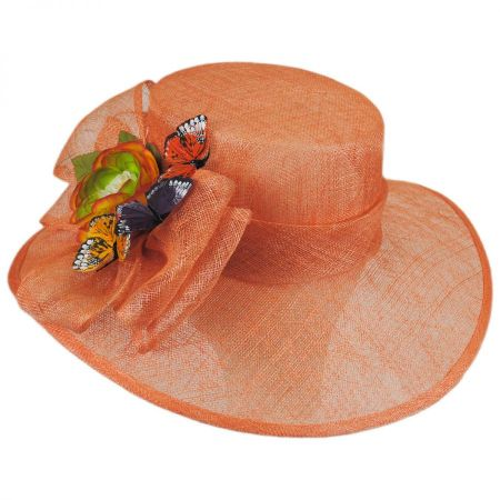 Toucan Collection Butterfly Sinamay Straw Boater Hat