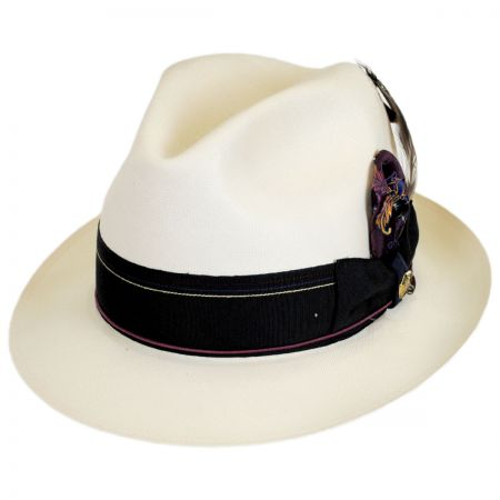1917 Extra Fine Shantung Straw Fedora Hat alternate view 1