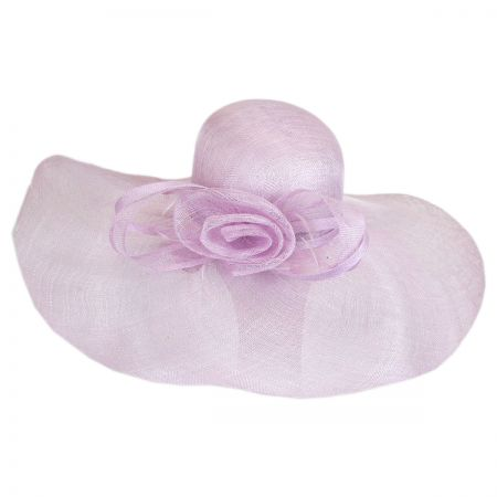 Scala Rosette and Bow Straw Wide Brim Hat
