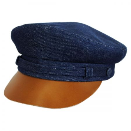 New York Hat Company Denim and Leather Fiddler Cap
