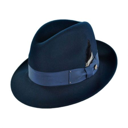 Navy Blue Fedora Hats at Village Hat Shop 7044f788d76