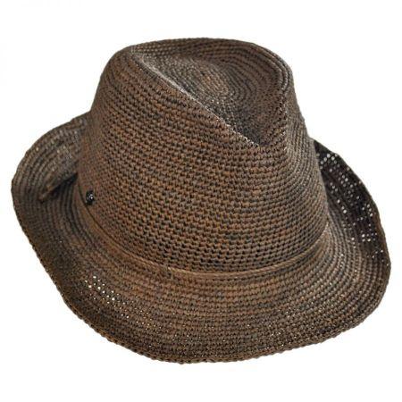 Helen Kaminski Abaka Crochet Raffia Straw Fedora Hat