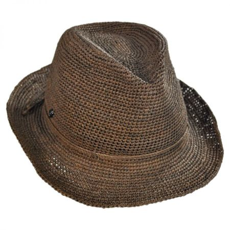 Abaka Crochet Raffia Straw Fedora Hat alternate view 7