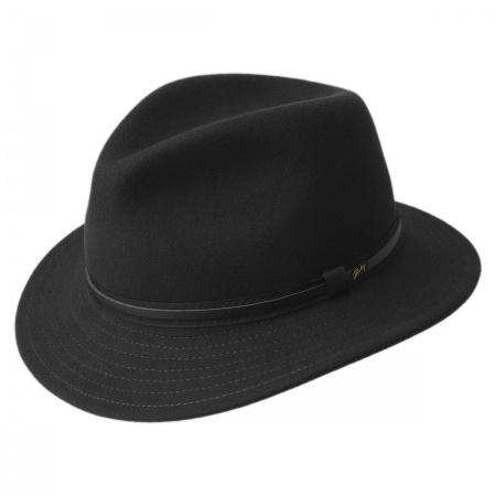 Black Leather Fedora at Village Hat Shop 2404110e460