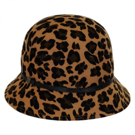 Leopard Wool Felt Cloche Hat alternate view 1