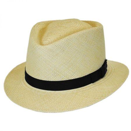 Pantropic Rincon Panama Straw Diamond Crown Fedora Hat