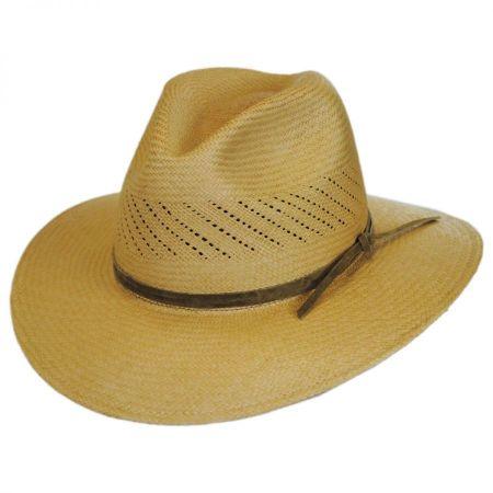 Pantropic Tucson Vent Panama Straw Fedora Hat