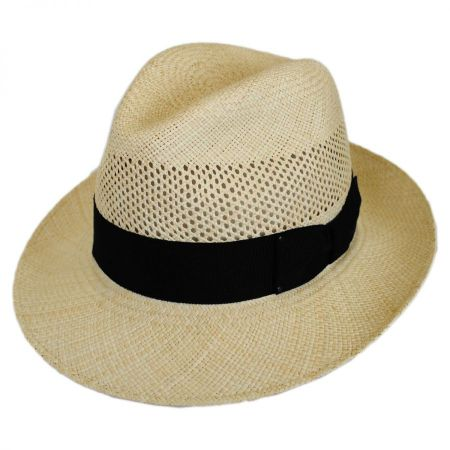 Groff Vent Panama Straw Fedora Hat alternate view 1