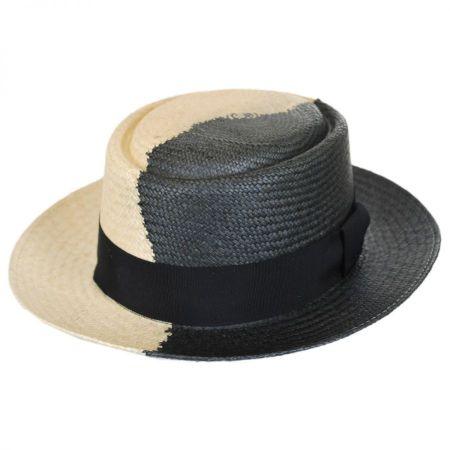 Bailey Yin Yang Panama Straw Wide Brim Pork Pie Hat