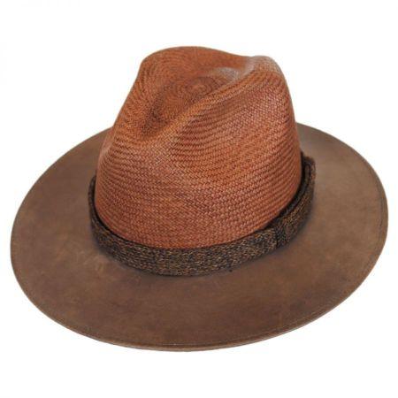 Bailey Perloff Panama Straw and Leather Safari Fedora Hat