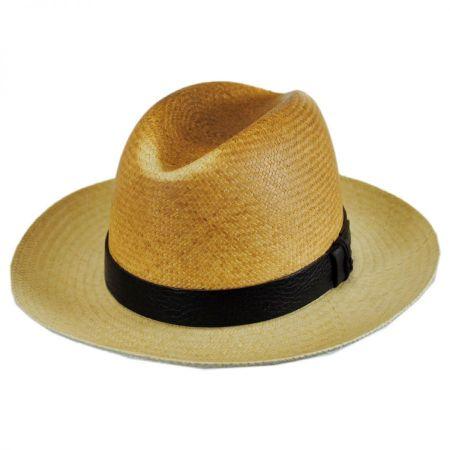 Woods Panama Straw Two-Tone Fedora Hat alternate view 1