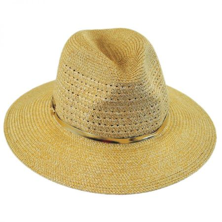 Betmar Tia Vent Crown Toyo Straw Fedora Hat