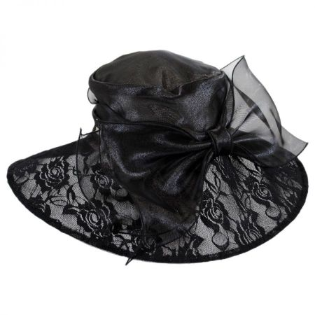 Betmar Vivienne Lace and Organza Downbrim Hat