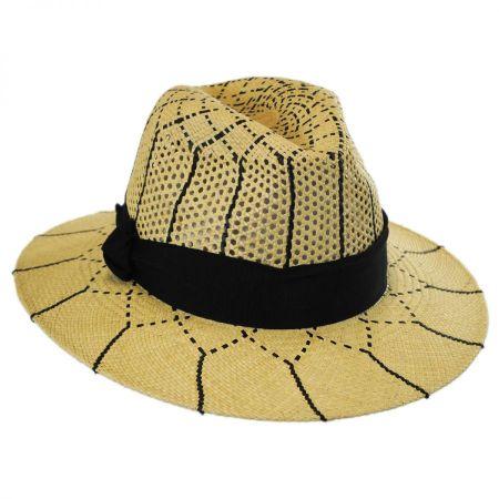 Karen Kane Open Weave Panama Straw Fedora Hat