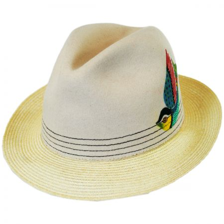 Carlos Santana Quetzal Wool Felt and Hemp Straw Fedora Hat