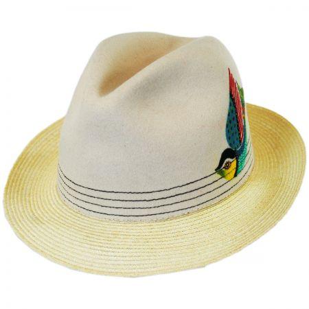 Carlos Santana Quetzal Wool Felt and Hemp Straw Fedora Hat