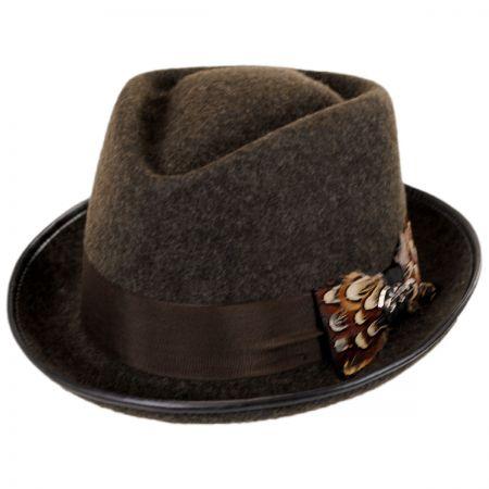 Pheasant Wool Felt Diamond Crown Fedora Hat alternate view 1