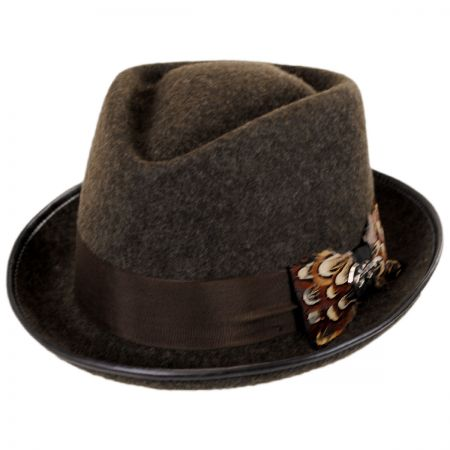 Carlos Santana Pheasant Wool Felt Diamond Crown Fedora Hat