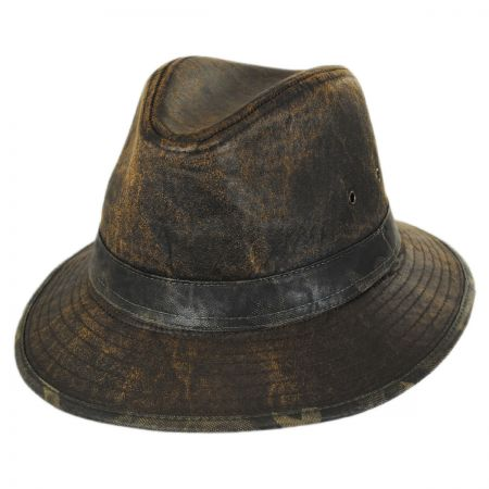 Dorfman Pacific Company Camo Trim Distressed Cotton Safari Fedora Hat