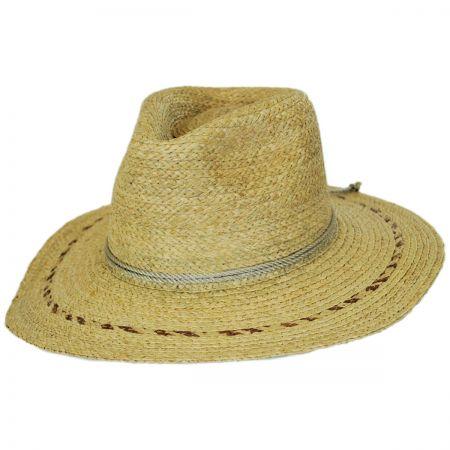 Brixton Hats Carnaby Raffia Straw Wide Brim Fedora Hat