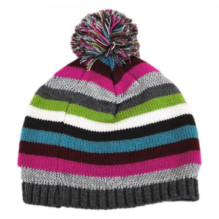 Scala Striped Knit Pom Beanie Hat