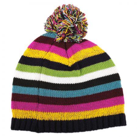Scala Striped Knit Pom Beanie Hat