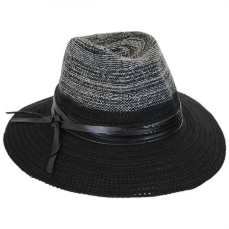 Scala Two-Tone Knit Safari Fedora Hat