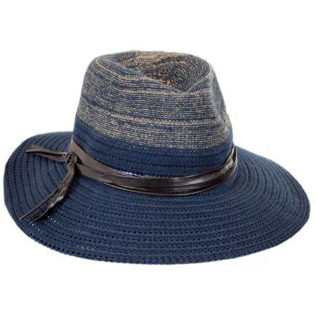 Scala Two-Tone Knit Safari Fedora Hat