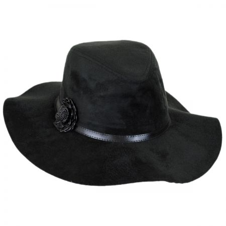 Scala Faux Suede Floppy Fedora Hat