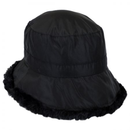 Scala Faux Fur Trim Rain Bucket Hat