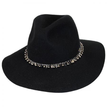 Scala Chain Band Wool Felt Safari Fedora Hat