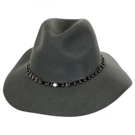 Scala Chain Band Wool Felt Safari Fedora Hat